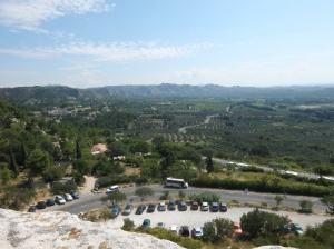 Looking back on the road to Le Baux