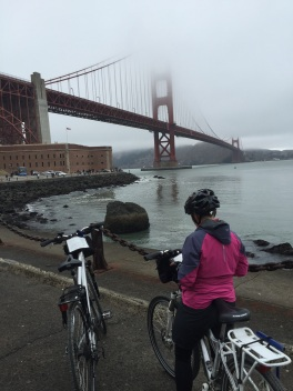 I had joked about the bridge being hidden in the fog, well not quite.