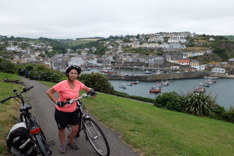 Ruth looking particularly perky in Mevagissy. When the bike was removed she fell over and went to sleep.