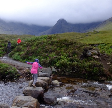 Ruth got plenty of practice at jumping between wet rocks at Glen Brittle at the base of the Cuillin mountains on Skye