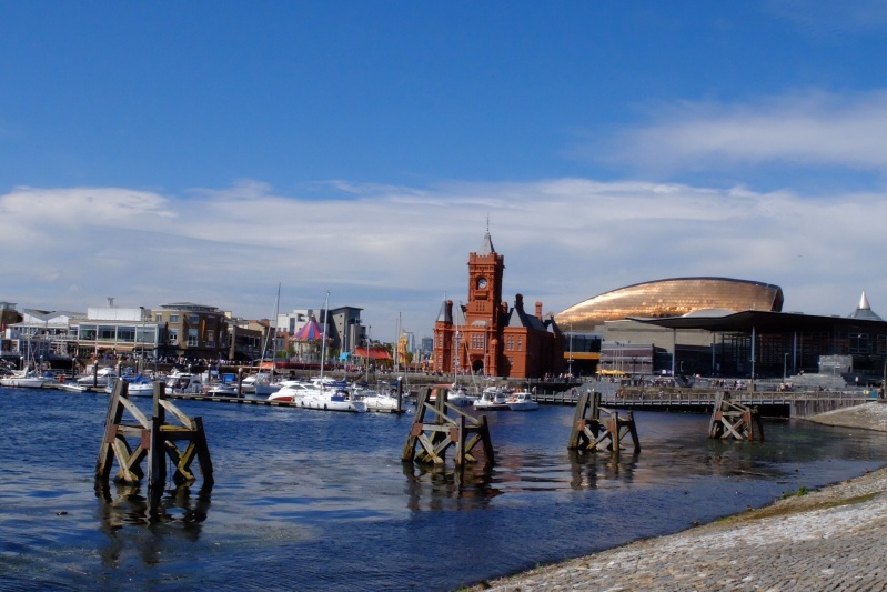 THe Millenium Centre (copper looking building) and National Assembly in Cardiff Bay