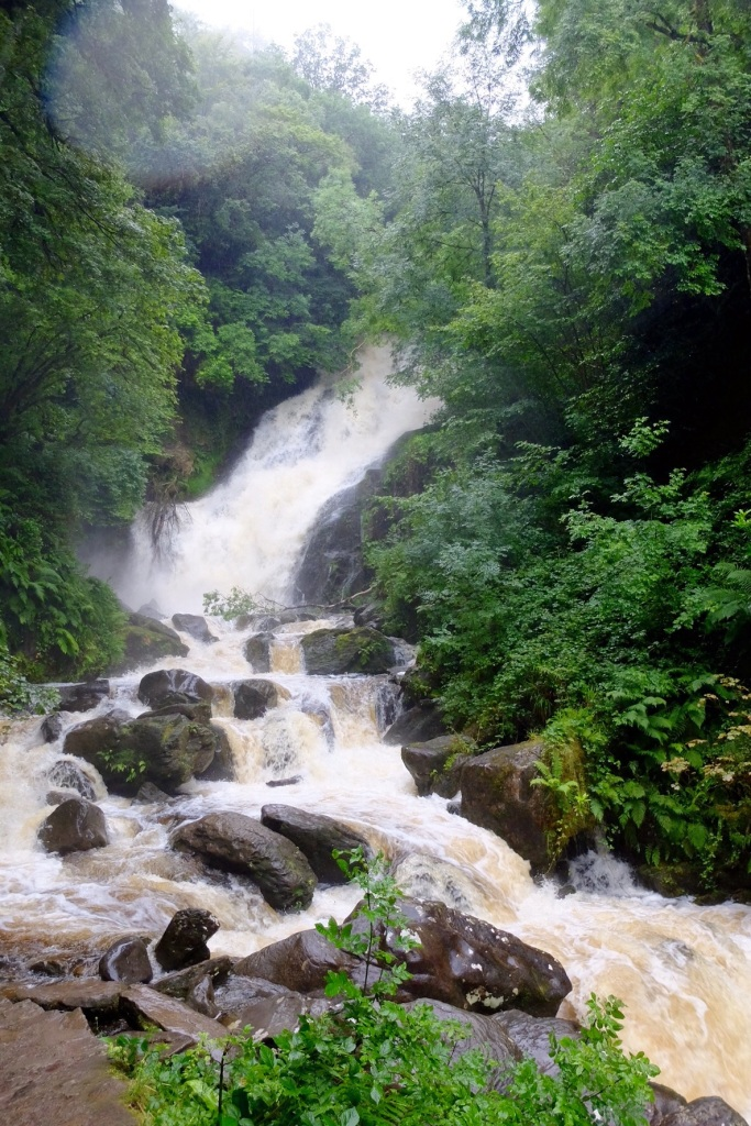 Torc Falls in monsoon ilke rain - Killarney National Park