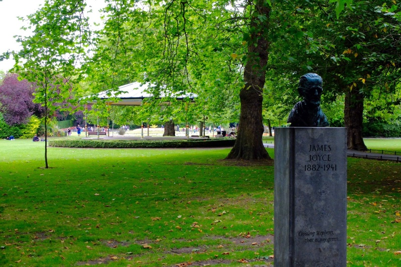 A mermorial to James Joyce in St Stephens Green in the central city