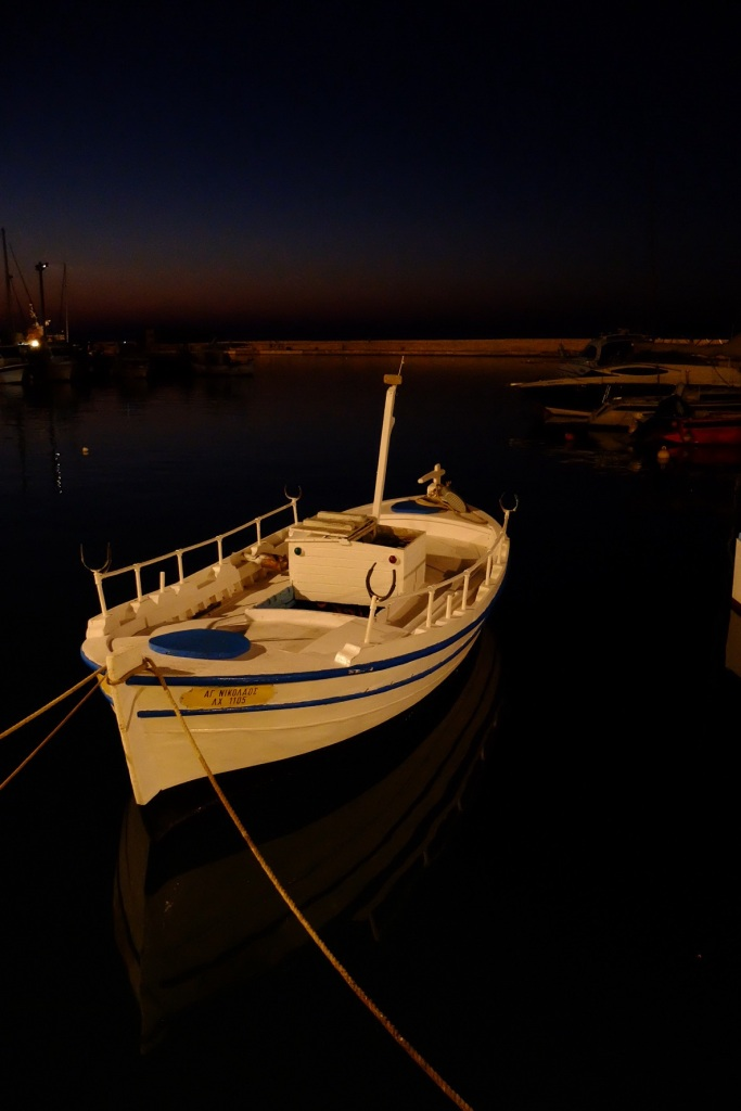 The white of the boat contrasted to the night.