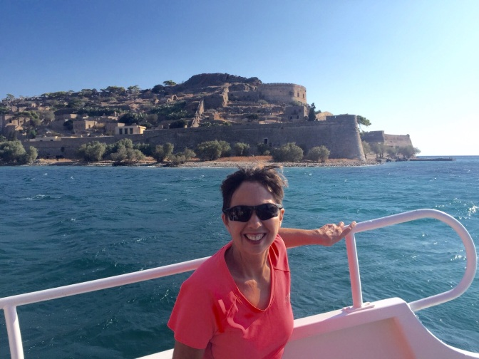 Ruth gets a little nostalgic for boating on the trip across to Spinalonga Fortress.