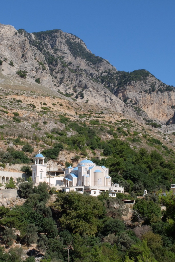 We walked past the Agios Nikolaos Monastery on our walk up into the St Nikolaos-Rouvas Gorge. On the way back we were motioned into Monastery by a local gent who was very keen on Ruth. The Priest got us to sit with him in the shade of a tree, we were offered biscuits and a Raki (Cliff only). Host responsibility, he knew Ruth had to get back down the mountain.