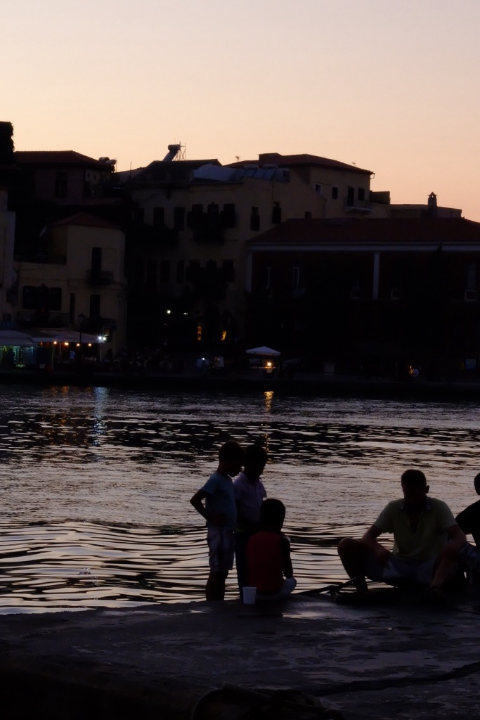 Evening on the harbour at old Chania town