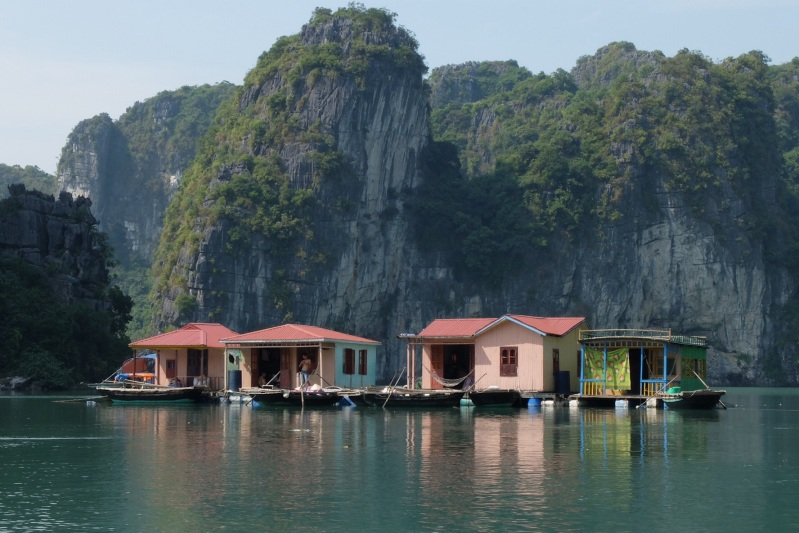 "One of the ""streets"" in Vong Vieng a floating fishing village in Halong Bay"