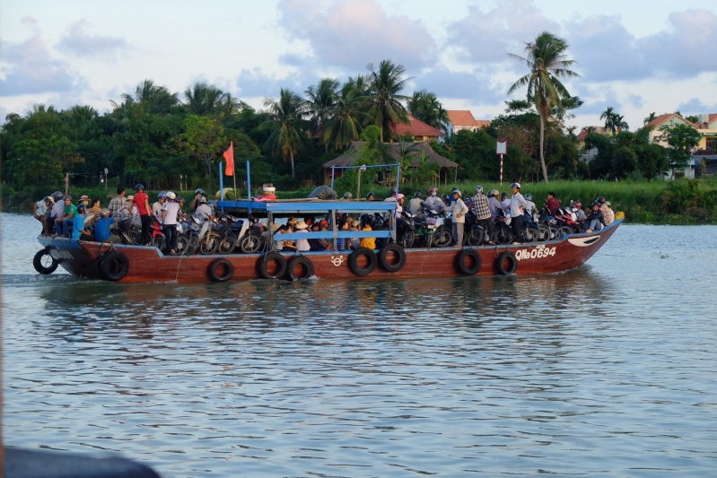 We caught the ferry back to Hoi An from the last Island in our ride. It was peak our and each of the ferries headed to the island were packed with motor and push bikes. The motor cyclists added a new dimesion to the