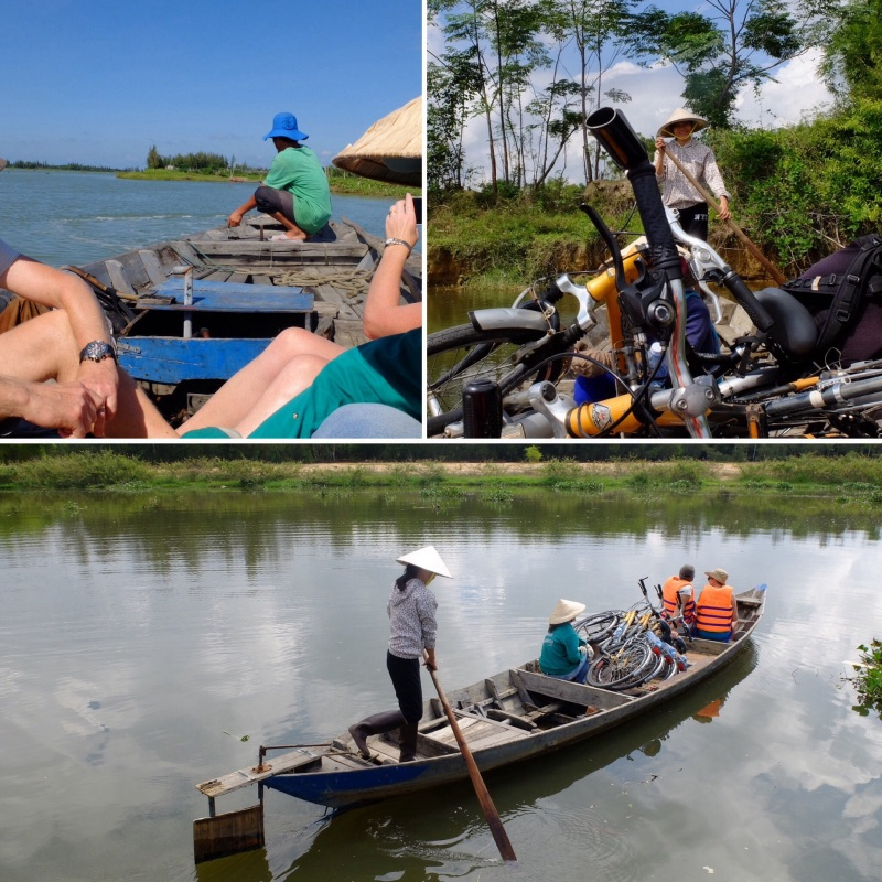 We were biking on islands in the river delta so several interesting boat trips were required to get us across varying expanses of water