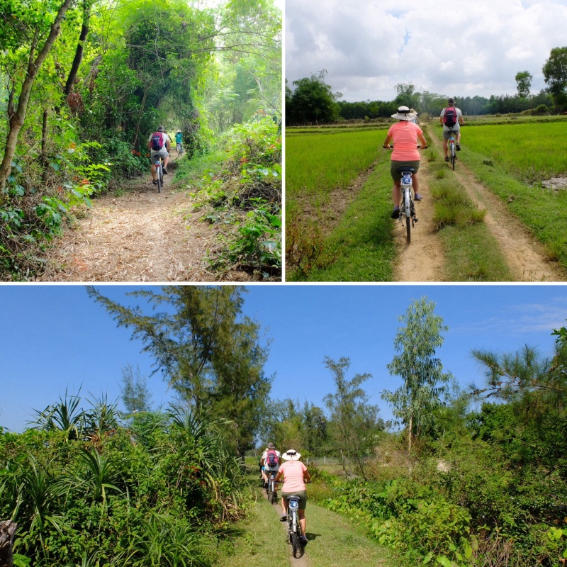 Our cycling took us along little more than tyre track through rice paddies, fields and along side the river. We passed through many hamlets and locals working in the fields.