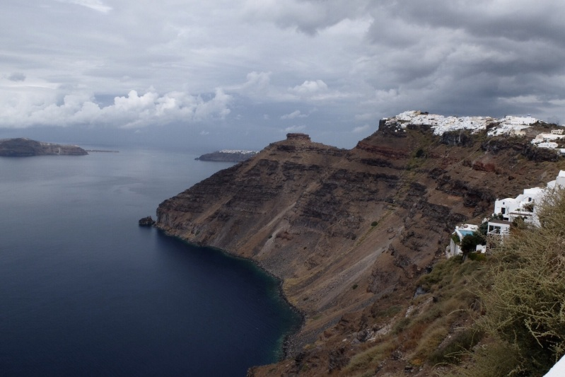The Santorini Caldera viewed from the town of Fira, you can see Oia where we started the walk as a thin white line in the distance.