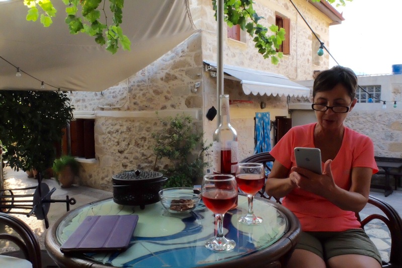 Enjoying a Rose from the family vineyard across the road from our very relaxing airbnb house in Siva Crete