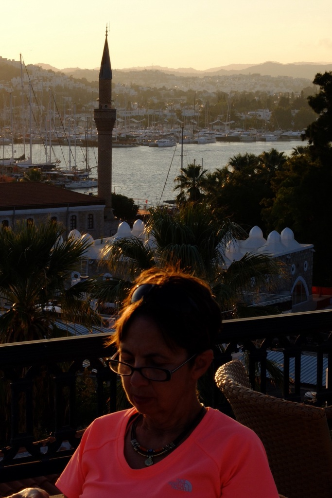 Ruth catches up with some photograph organisation on the terrace of our Pensione in Bodrum
