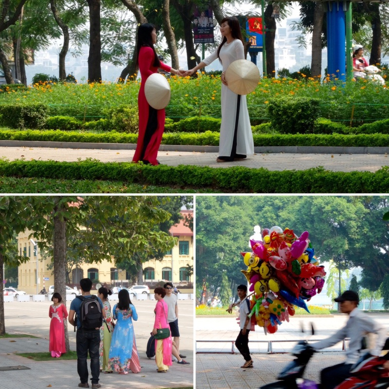 On a Saturday walk out to West Lake we saw many ladies in traditional dress have their photos taken