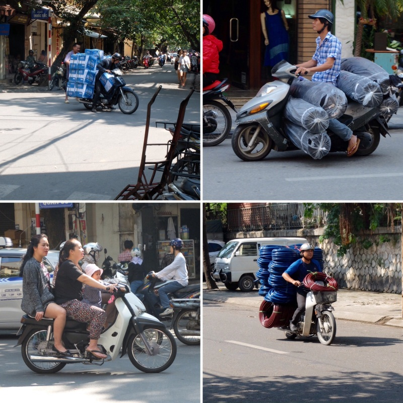 The motorcycle appeared to be the primary method of distribution and family transport in the city. These were some we managed to capture there were many more extreme passenger and goods loadings that we saw but did not have the camera ready.