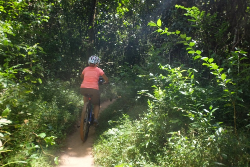 Ruth powering through the jungle on one of the sandy tracks we traversed.