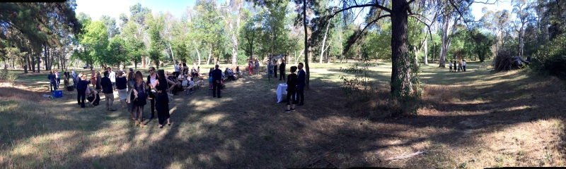 The wedding ceremony was held in a park amongst the gum trees. The celebrant providied a refreshing change and these were important factors that helped to make the occasion a very memorable one.
