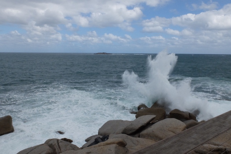 All the way from Melbourne the sea has been in a very angry mood which is great for picture taking. This is on the exposed side of Granite Island