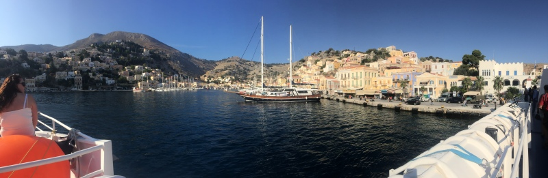 The ferry ride from Rhodes to Kos was always close to land with interesting stopovers such as this one at Symi
