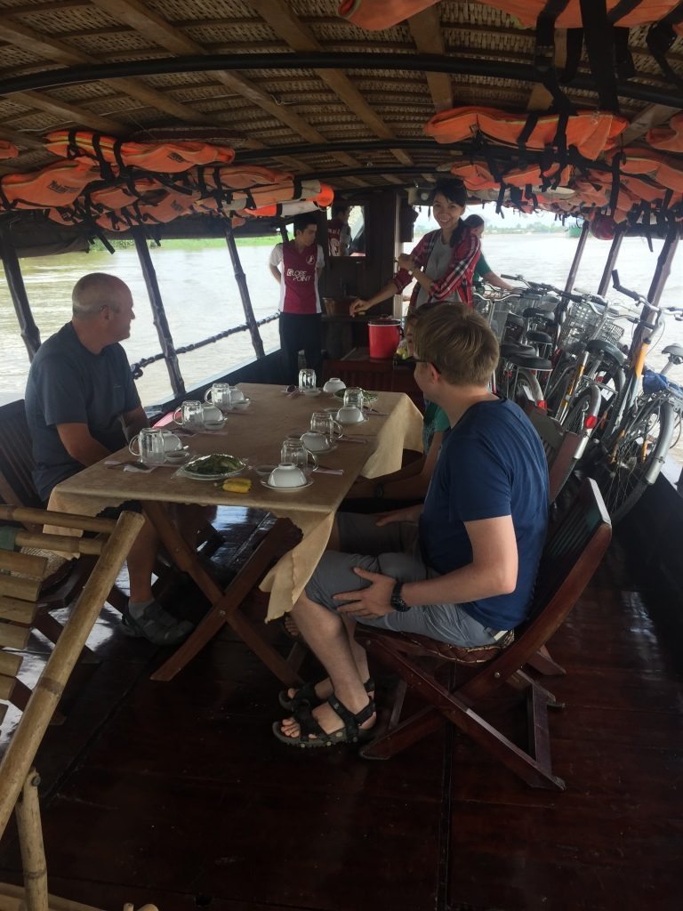 Between biking the river boat transported us and bikes and served lunch, Mekong River Vietnam