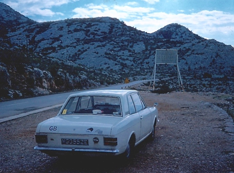 The Ford Cortina that we traveled 53,000km in four months. Picture is taken on the the Yugoslavian coast (now Croatia). It was either out of petrol or broken down. I learnt a lesson about car transport during that insane trip.