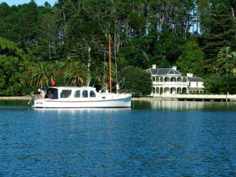 The launch we owned (Agnes) at Kawau Island