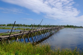 This bamboo footbridge was challenging to ride on and was also tolled