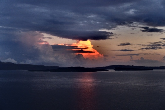 Storm clouds over Santorini